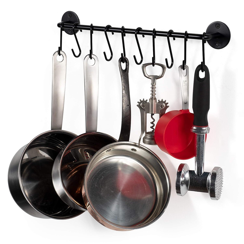 WALLNITURE Gourmet Kitchen Rail Rack Pot Pan Lid Organizer and 10 Hooks 16 Inch Black