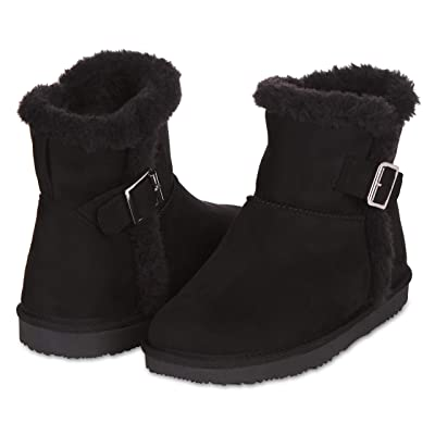 Floopi Warm Winter Boots for Women- Classic Mid-Calf Cut, Eco-Friendly Suede Exterior, Faux Fur- Plush Interior- Anti-Skid Flat Sole, Casual Everyday Wear | Snow Boots