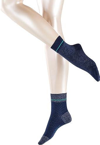 Esprit Socken Nice Stripe Dot 2 Pack Baumwolle Damen Schwarz Weiß Viele Weitere Farben Verstärkte Damensocken Mit Muster Atmungsaktiv Gestreift Gepunktet Mit Glitzer Im Multipack 2 Paar Bekleidung