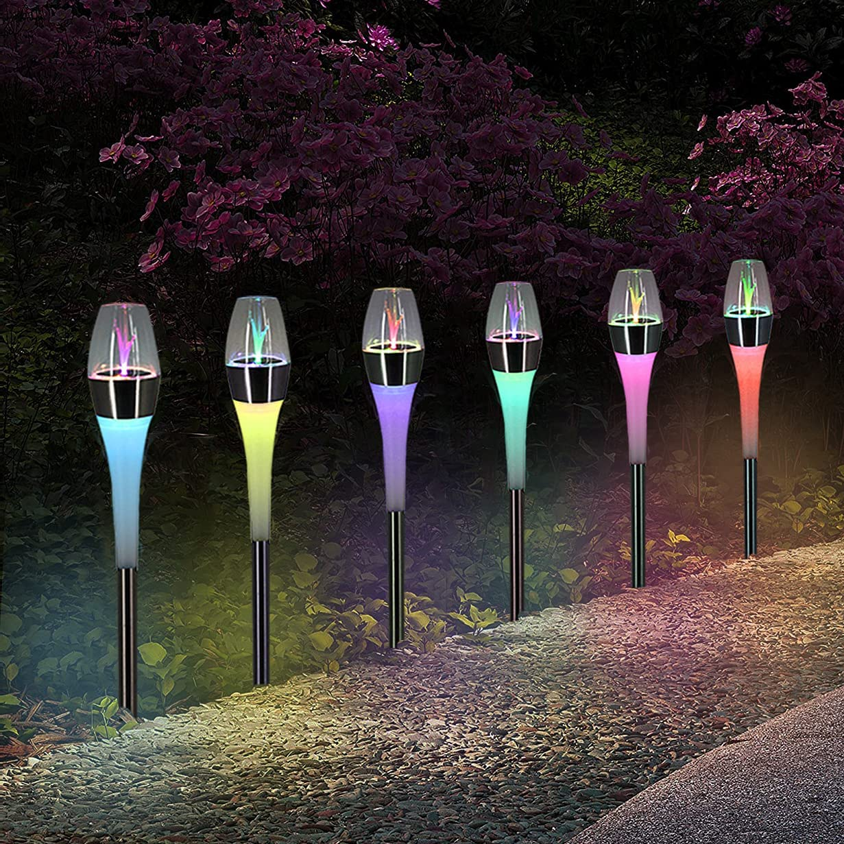 pearlstar Solar Lights Outdoor Garden Pathway with LED Color Changing Lights Waterproof for Path Lawn Patio Yard Walkway Driveway, Auto On/Off Landscape Lighting Decor, Stainless Steel&Plastic (6pack)
