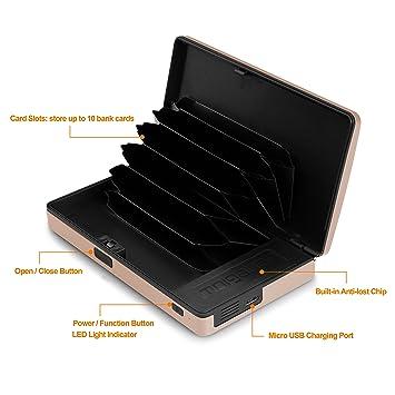 Cartera de tarjetas, Greshare Bluetooth bidireccional bidireccional RFID seguro Carpeta de seguimiento de aluminio con hasta 10 tarjetas bancarias (Gold): ...