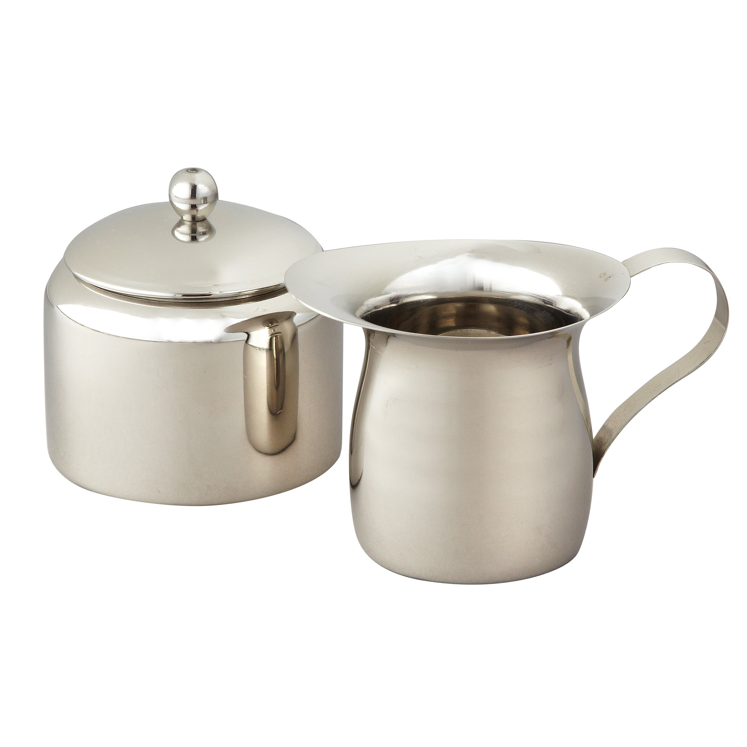 Elegance Stainless Steel Small Sugar Bowl and Creamer Set, Silver