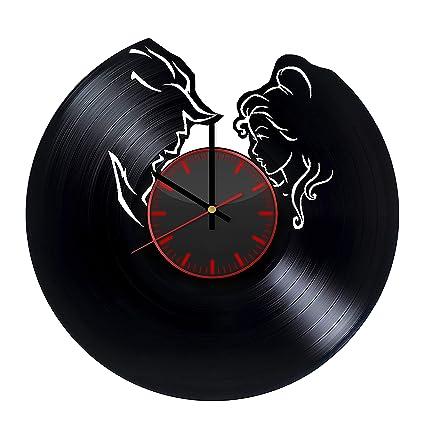 amazon com beauty and the beast silhouettes vinyl record wall clock