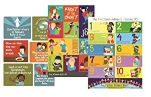 Bible Verses Poster Set – Ten Commandments Lord's Prayer and Fruit of The Spirit– Christian History & Art for Home Church Or Sunday Bible School - Fun Gift Idea for Kids Baby Or Youth Birthday Party