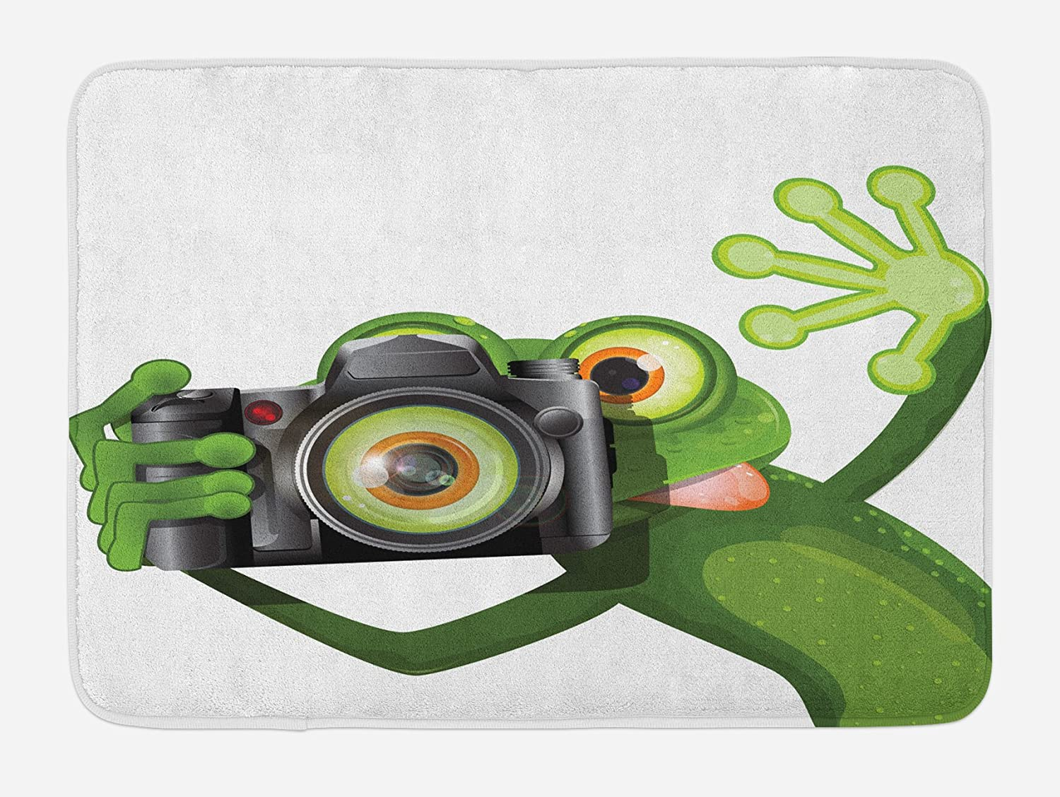 outlet Ambesonne Animal Bath Mat, Photographer Merry Green Frog Taking with His Camera Cute Funny Artful, Plush Bathroom Decor Mat with Non Slip Backing, 29.5 W X 17.5 W Inches, White Black