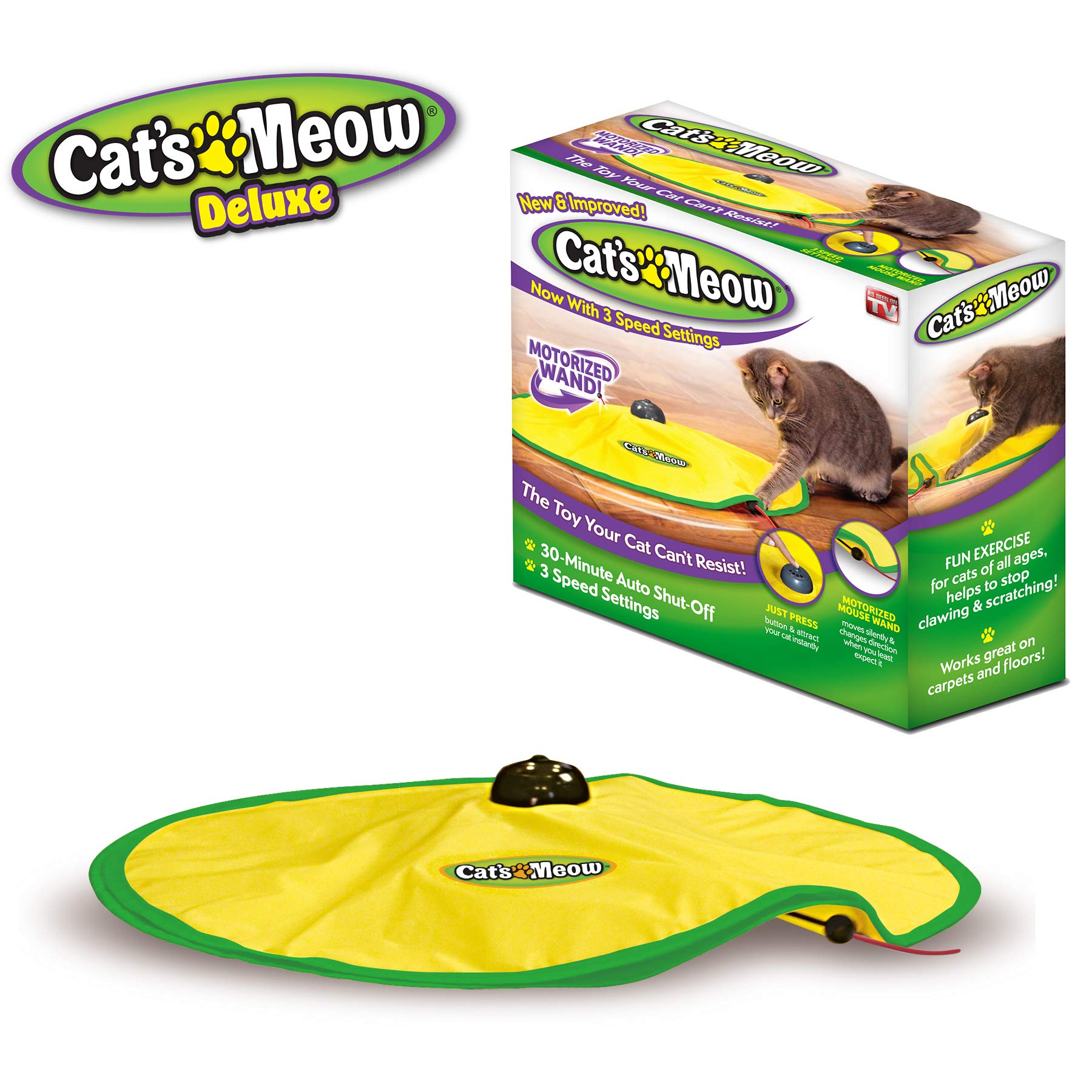 Cat's Meow- Motorized Wand Cat Toy, Automatic 30 Minute Shut Off, 3 Speed Settings, The Toy Your Cat Can't Resist by Cat's Meow