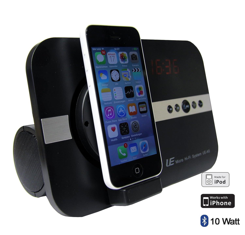 Syst/ème de Son pour Apple iPhone X XS XR iPhone 8 7 5 5S 6 6S Se Plus ipod Touch 5G iPad Pro iPad Mini Air avec Radio USB Interface Bluetooth T/él/écommande Adaptateur Hi-FI Tube Noir
