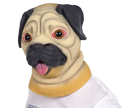 lubber halloween costume pug latex animal dog head mask