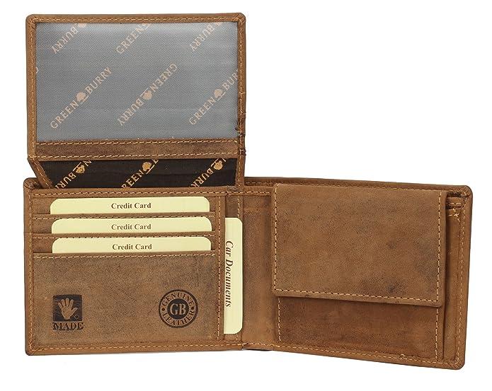 Greenburry Vintage Geldbörse Lederbörse Geldbörse Leder Portemonnaie braun