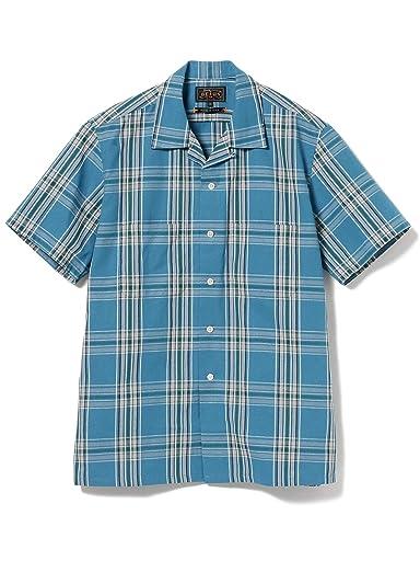 Plaid Short Sleeve Camp Shirt 11-01-1069-139: Blue
