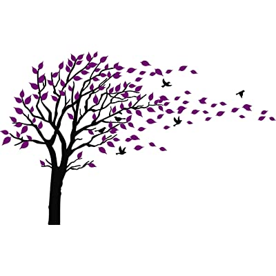 Large Tree Blowing in The Wind Tree Wall Decals Wall Sticker Vinyl Art Kids Rooms Teen Girls Boys Wallpaper Murals Sticker Wall Stickers Nursery Decor Nursery Decals (Black and Purple): Home & Kitchen