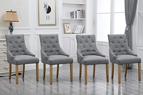 Amazon Com Homesailing 4 Comfy Armchairs Dining Room Chairs With Arms Only Grey Fabric Upholstered Kitchen Chairs High Back Button Tufted Padded Side Chairs For Living Room Wood Oak Legs Chairs Gray