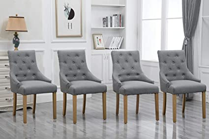 factory authentic ba4d4 7be9d HomeSailing 4 Comfy Armchairs Dining Room Chairs with Arms Only Grey Fabric  Upholstered Kitchen Chairs High Back Button Tufted Padded Side Chairs for  ...