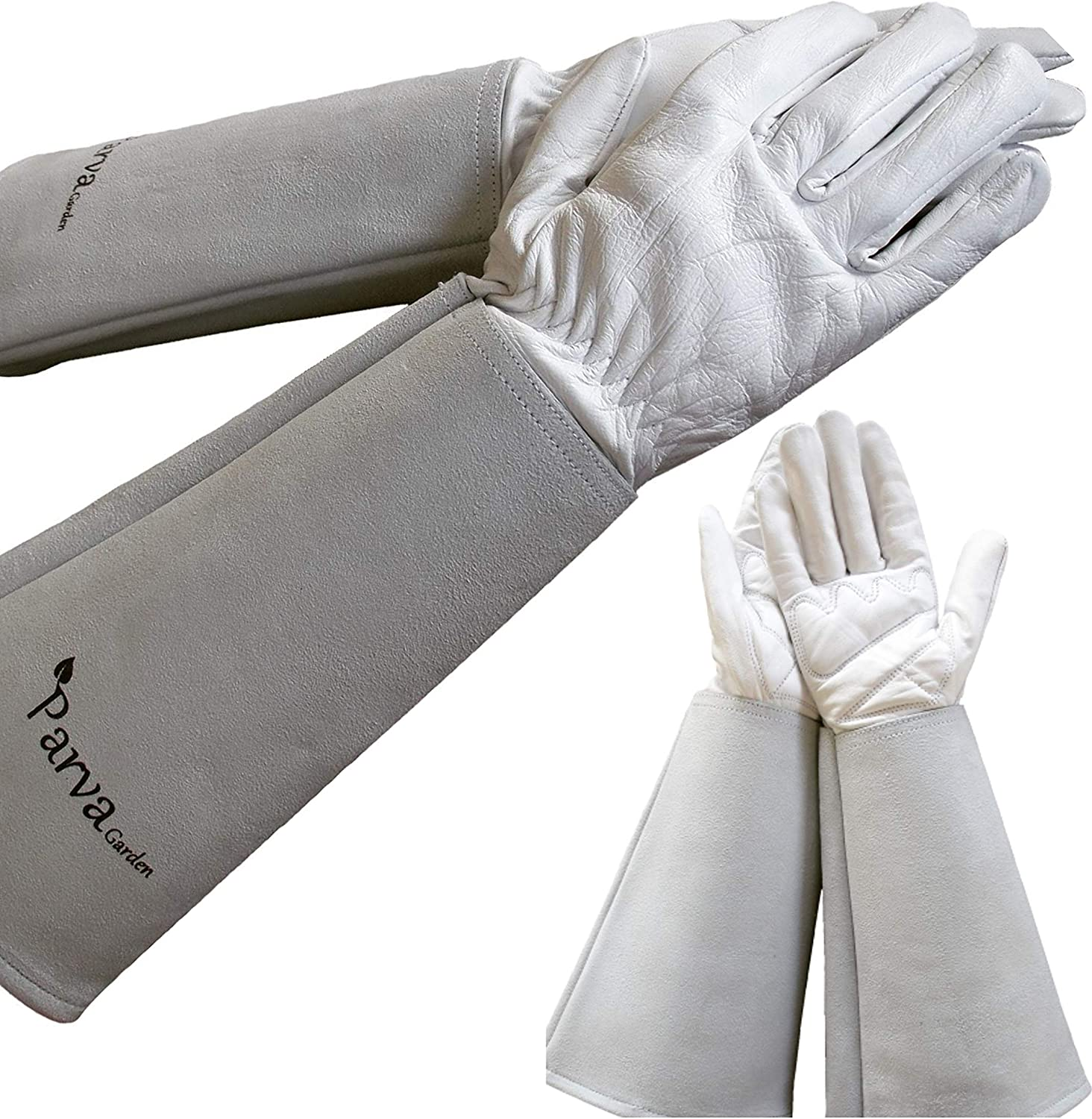 Elbow Length Gardening Gloves, Rose Pruning Gloves, Leather Gloves with Canvas Gauntlet Protects Forearms for Men and Women Gardening Gloves (Medium Neutral)