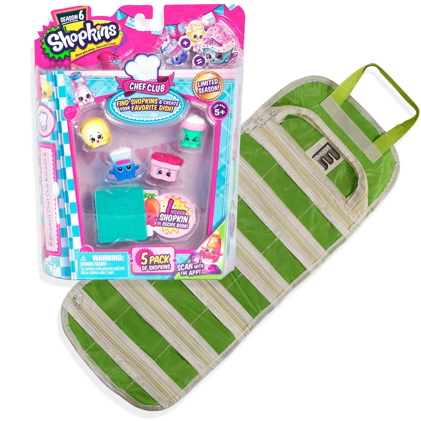 EASYVIEW Season 5 Charms 5-Pack Shopkin with a Compatible Toy Organizer Case Bundle Green
