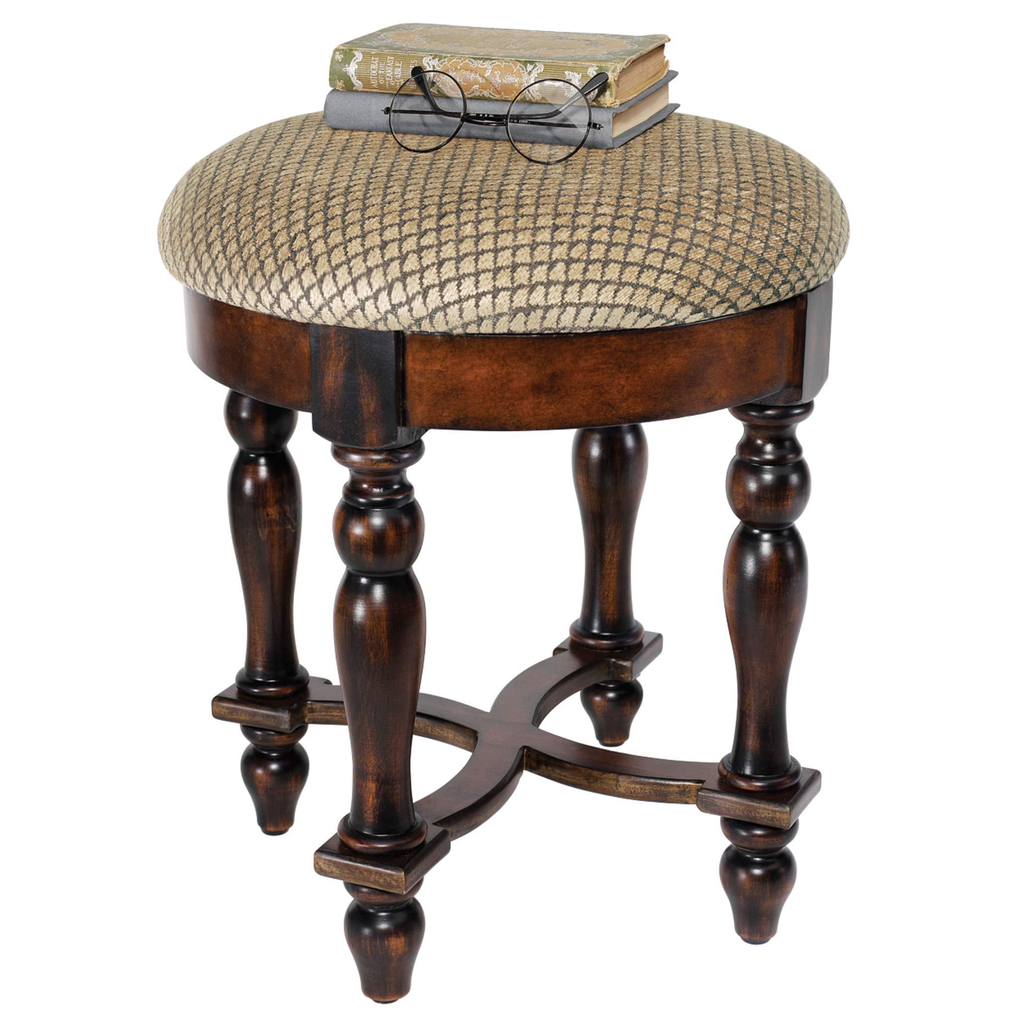 Design Toscano Grand Duchess Vanity Stool, 17 Inch, Hardwood, Walnut
