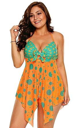70a78f1a493a8 Fasnoya Women Nylon Spandex Swimwear bik526 Orange XX-Large  Amazon ...