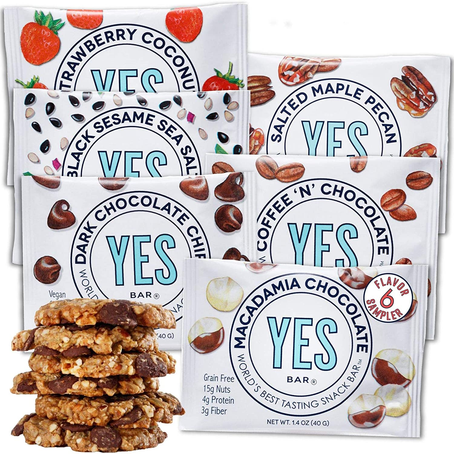 YES Bar – Six Flavor Variety Pack – Plant Based Protein, Decadent Snack Bar – Vegan, Paleo, Gluten Free, Dairy Free, Low Sugar, Healthy Snack, Breakfast, Low Carb, Keto Friendly (Pack of 6)