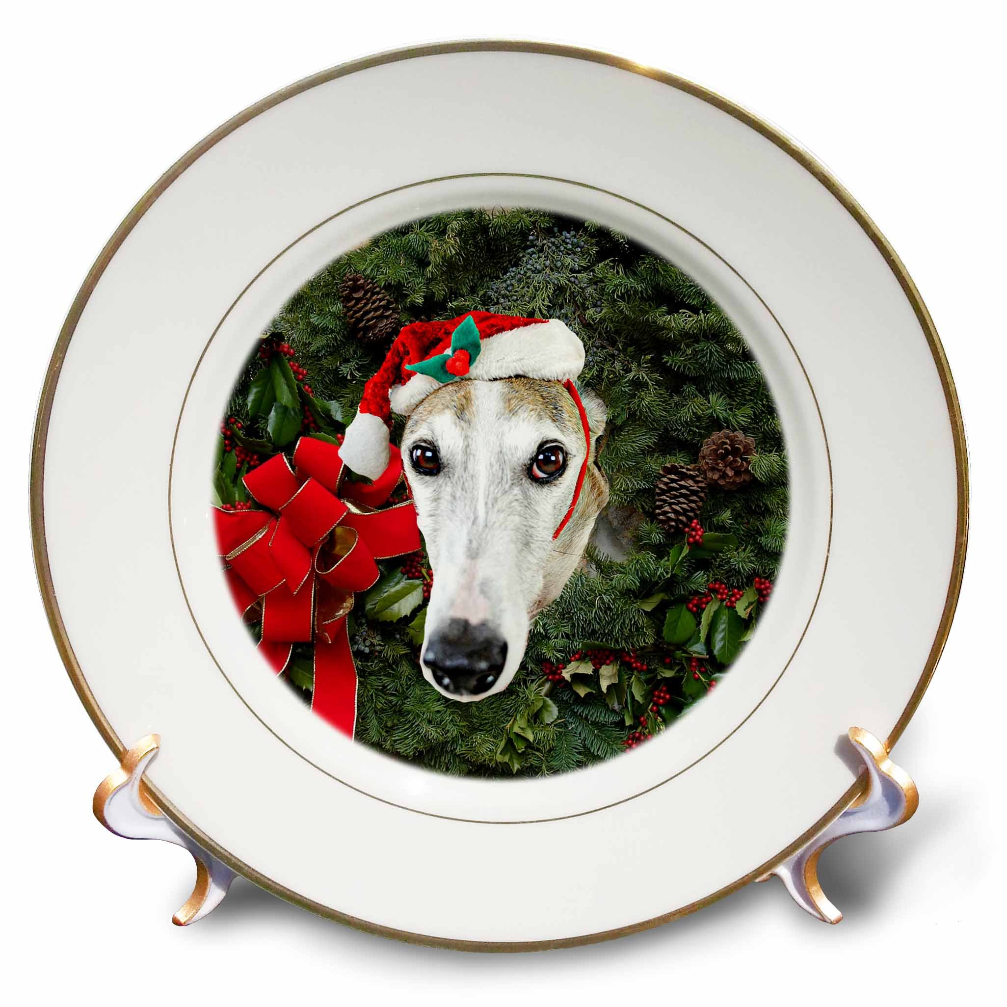 3dRose Sandy Mertens Christmas Animals - Christmas Wreath with a Greyhound Dog with Santa Hat in the Middle - 8 inch Porcelain Plate (cp_269520_1)