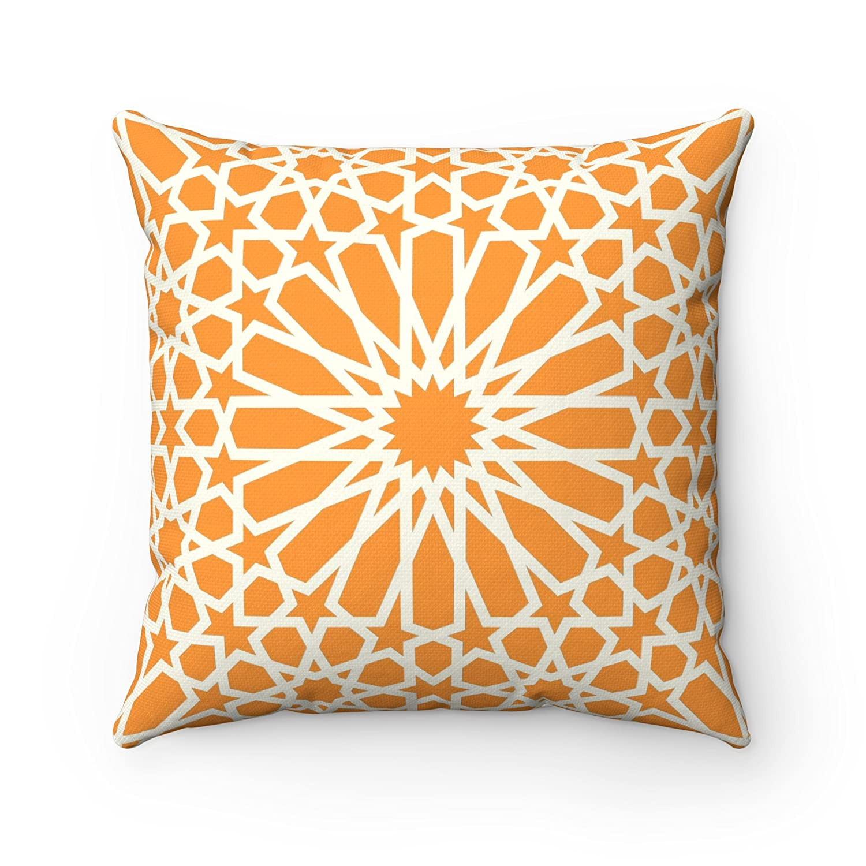 /Orange 43/x 43/cm Motif g/éom/étrique Design carrelage marocain Imprim/é Housse de coussin/