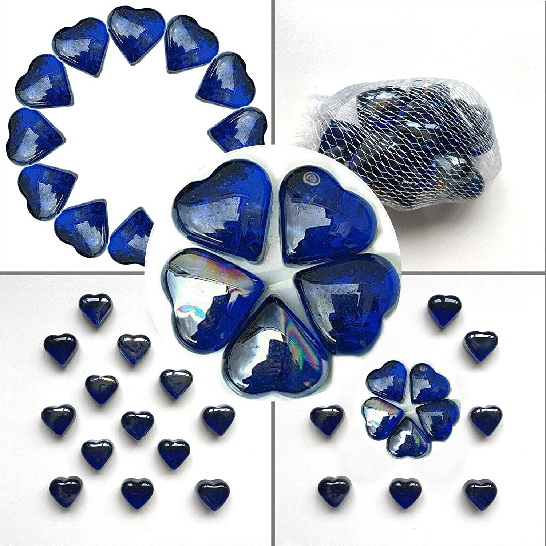 MSM UK GLOBAL - Piedras decorativas de cristal con forma de corazón, color azul