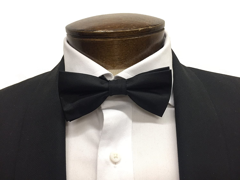 100% Black Satin Silk Bow Tie with Classic Modern Shape (Pre-Tied)