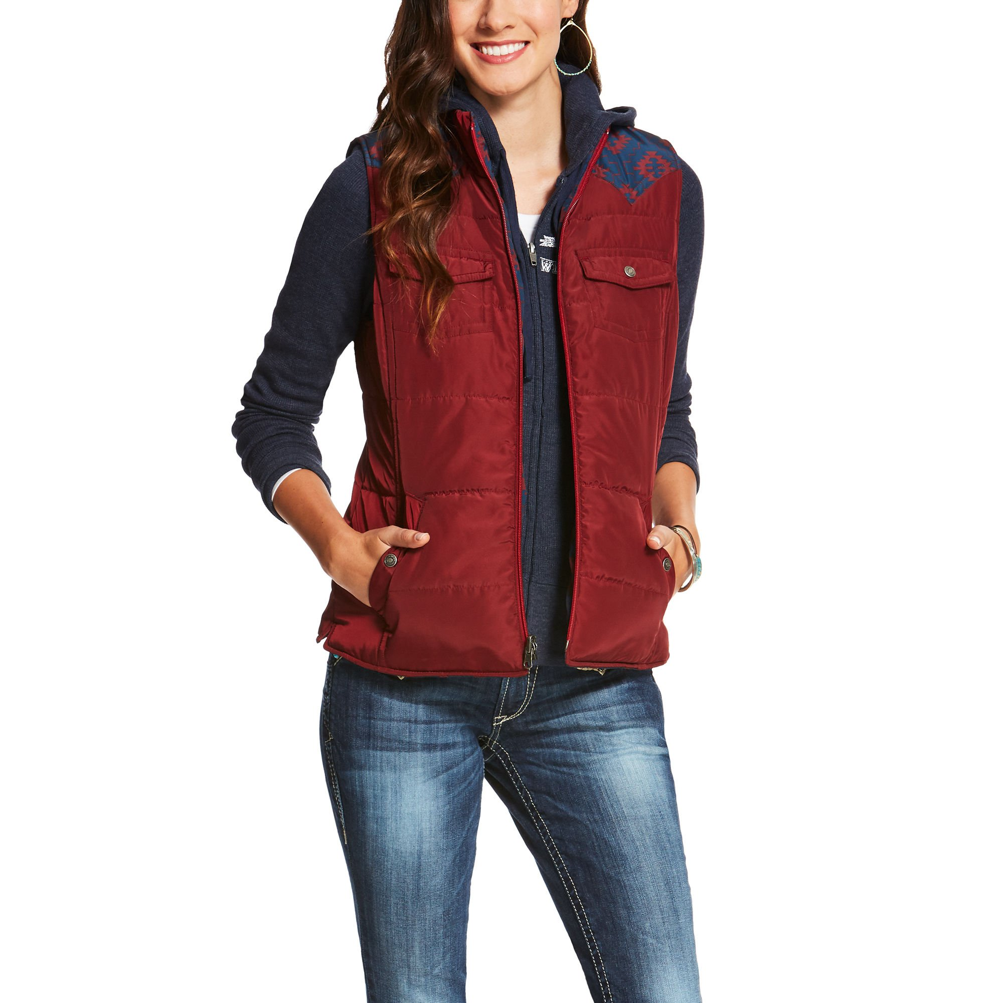Ariat Womens County Reversible Vest LG R Multi