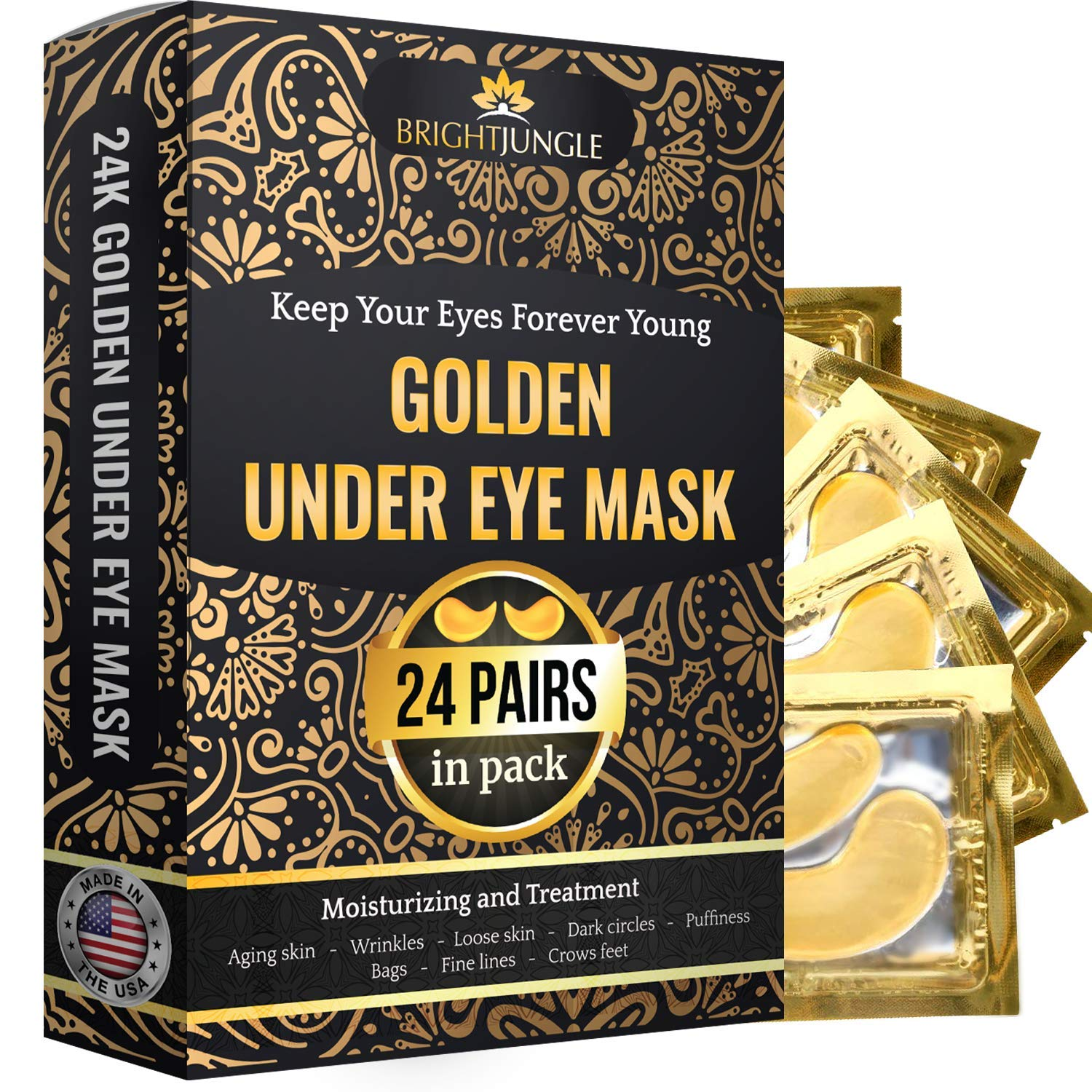 BrightJungle Under Eye Collagen Patch, 24K Gold Anti-Aging Mask, Pads for Puffy Eyes & Bags, Dark Circles and Wrinkles, with Hyaluronic Acid, Hydrogel, Deep Moisturizing Improves elasticity, 24 Pairs by BrightJungle