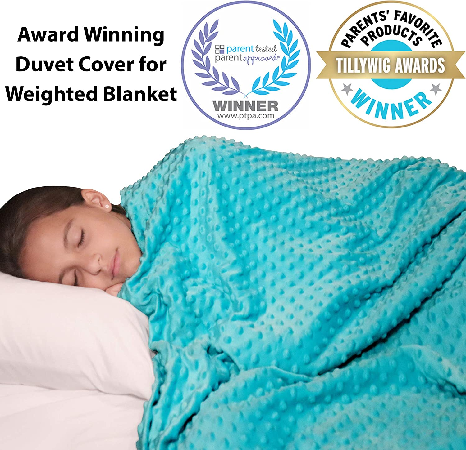 """Reversible Kids Duvet Cover for Weighted Blanket for Hot and Cold Sleepers - 48"""" x 72""""- Soft Minky Plush and Cooling Bamboo Weighted Blanket Cover - Removable and Washable Blanket Duvet Cover"""