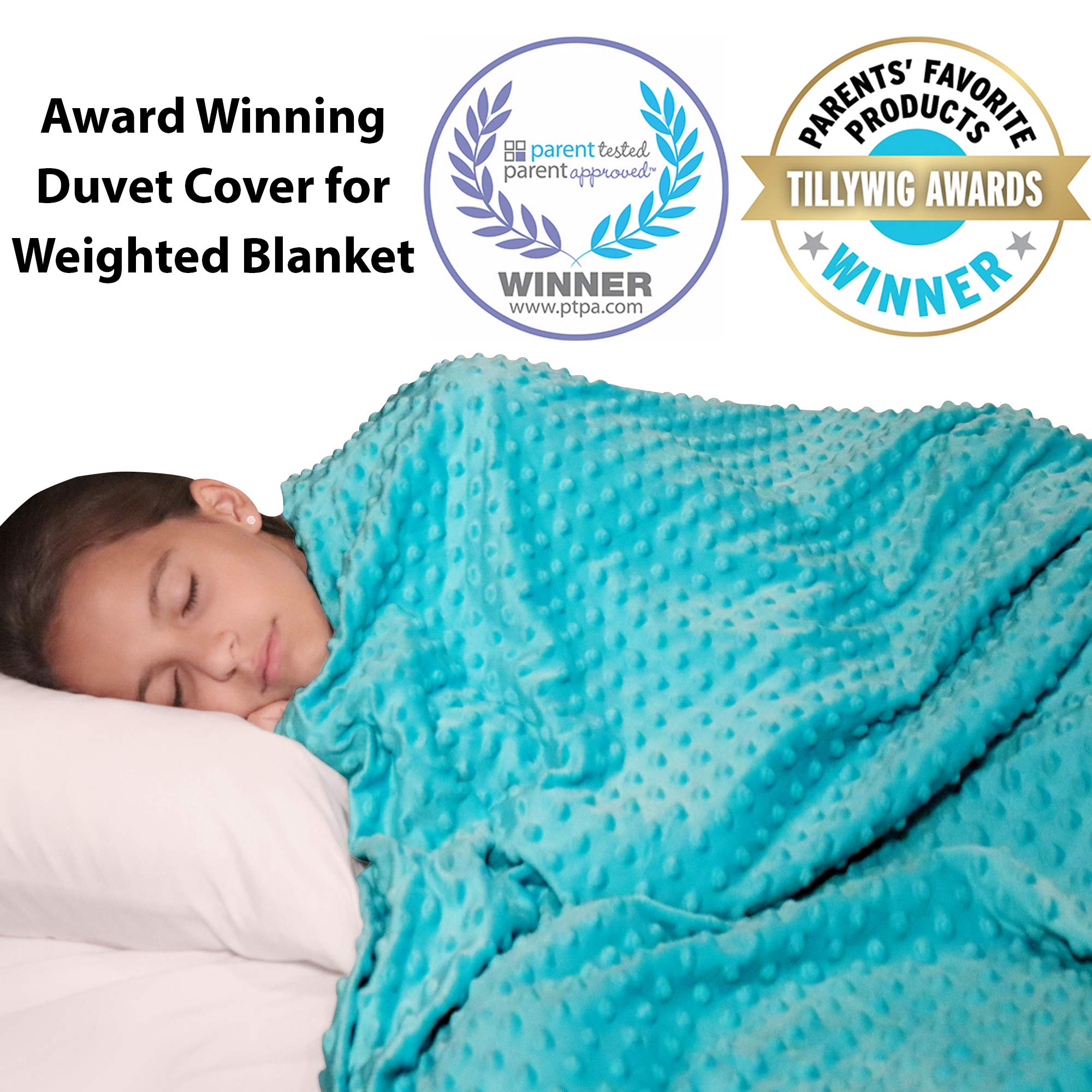 Duvet Cover for Weighted Blanket 48''x 72'' - Cooling Bamboo and Soft Minky Dot - Removable Duvet Cover for Hot and Cold Nights - Weighted Blanket Not Included by Hazli