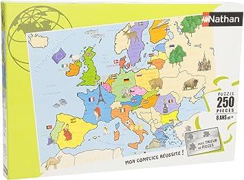 Nathan 86934- Puzzle Infantil del Mapa de Europa (250 Piezas ...