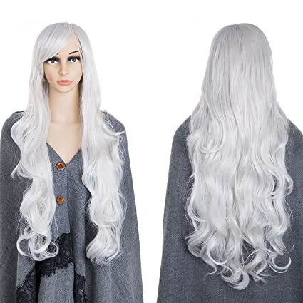 80 cm Peluca cosplay rizada blanca larga atractiva de plata, ZeWoo peluca blanca larga,