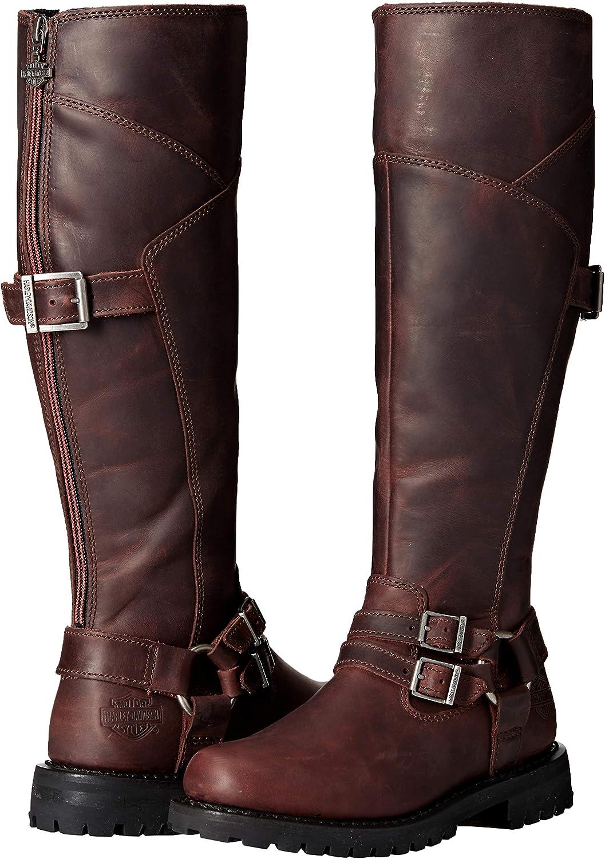 Ladies Harley Davidson Wine Leather Knee High Boots Lomita