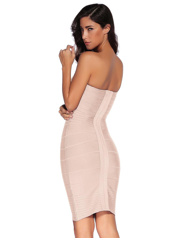 Amazon.com: Meilun Women's Strapless Bandage Dress Cocktail ...