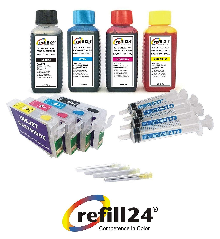 refill24 Cartuchos Recargables Compatible para Epson 1631,1632 ...