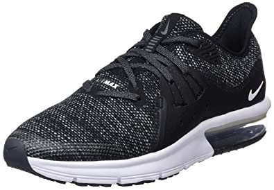 check out 4112f d248f Nike Boy s Air Max Sequent 3 Running Shoe Black White Dark Grey Size 4