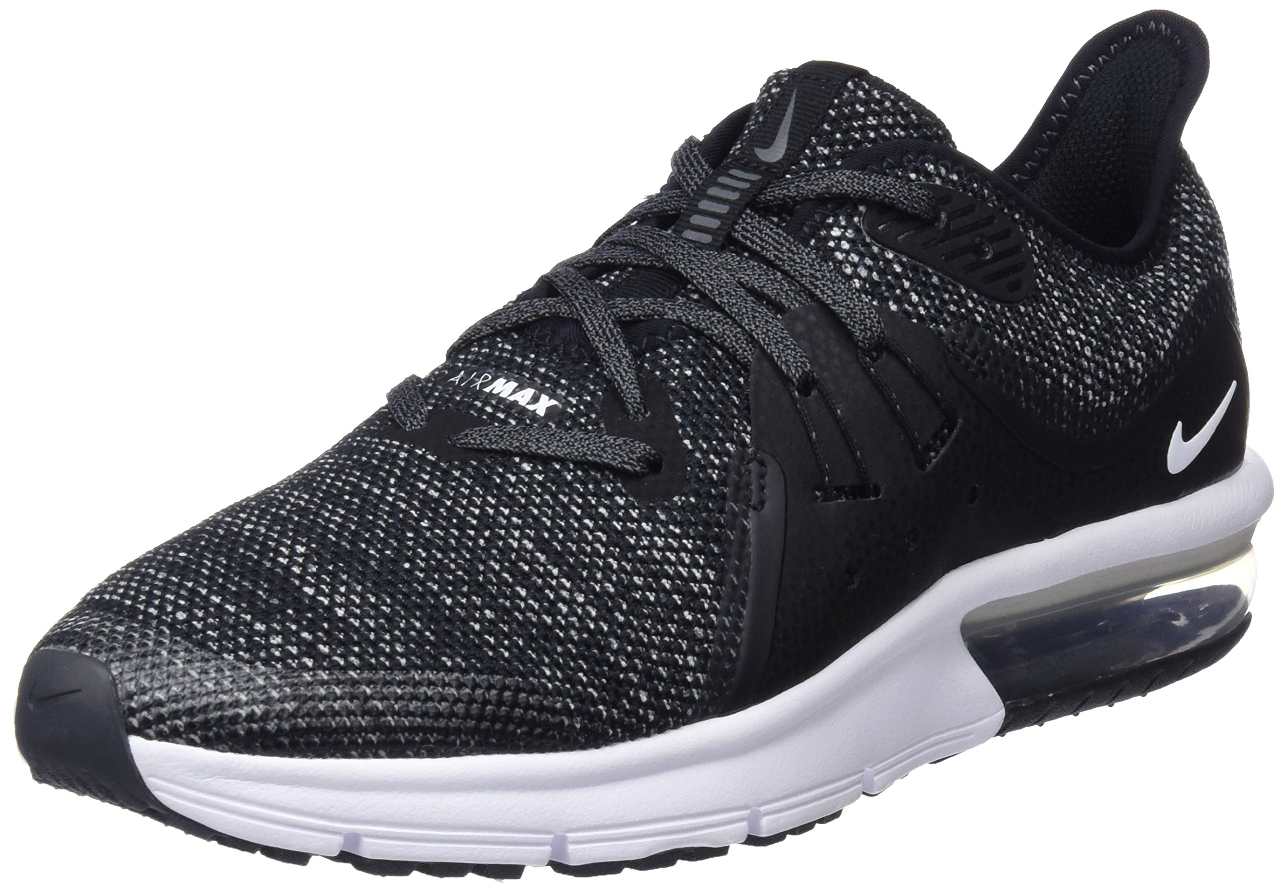 Nike Boy's Air Max Sequent 3 Running Shoe Black/White/Dark Grey Size 3.5 M US by Nike (Image #1)