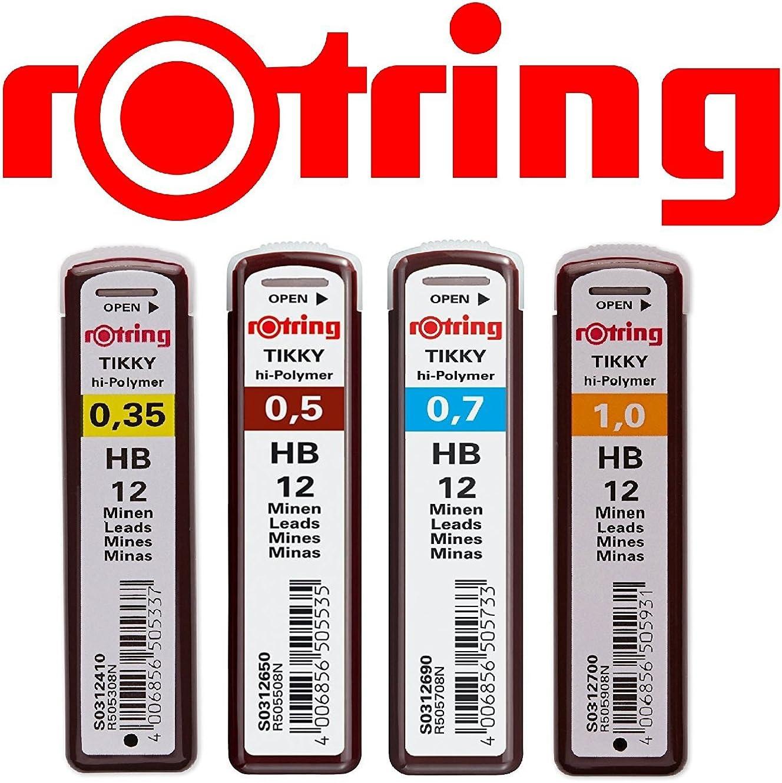 rOtring Tikky Ersatzminen Set 1 0,35 HB Kit da 3 portamine con codice cromatico 0,35 // 0,5 // 0,7 0,5 HB 0,7 HB