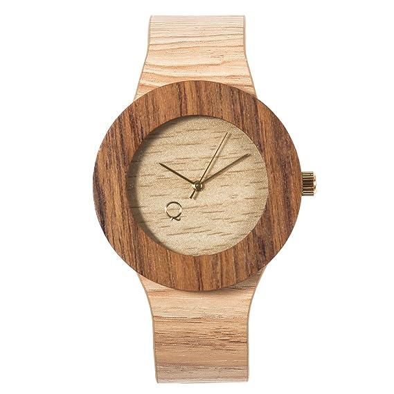 seQoya - Serengeti | Reloj de Madera con Esfera de Madera y Correa de Piel ecológica simulando Madera Estampada | Reloj Hombre y Mujer | Diseño único y ...