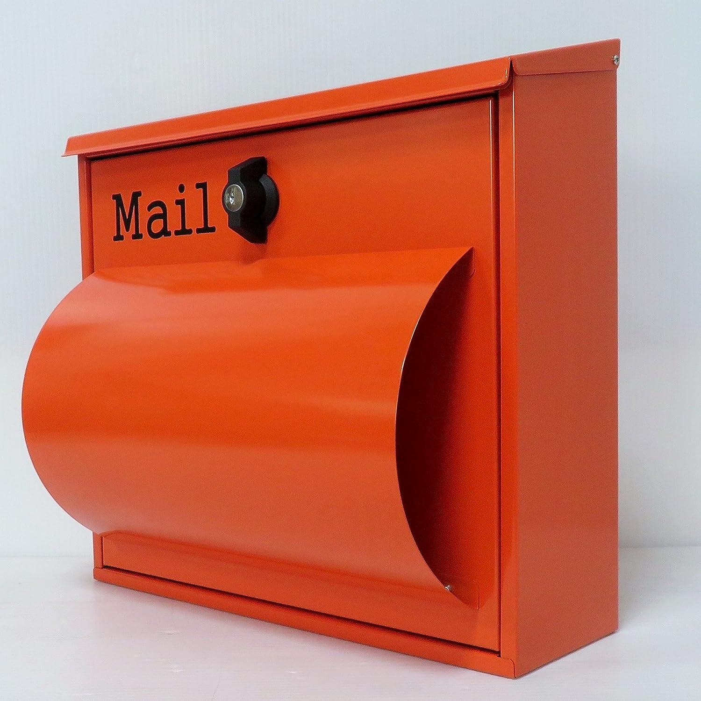 郵便ポスト郵便受け北欧風大型メールボックス 壁掛けプレミアムステンレスオレンジ色ポストpm092 B0719LQQB1 12880