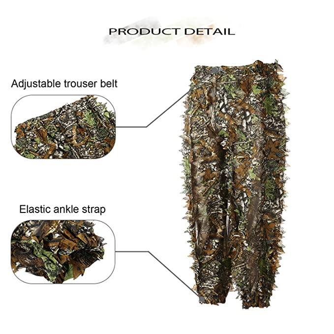 Eamber Ghillie Suit 3D Leaf Realtree Camo Camouflage Lightweight Clothing Suits for Jungle Hunting,Shooting, Airsoft, Wildlife Photography or ...