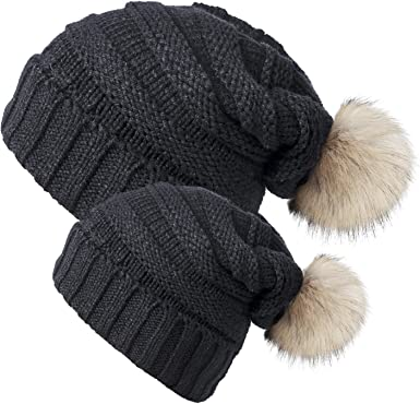 2PSC Mom/&Baby Hats Newborn Boy Girl Women Knit Winter Warm Fur Pom Beanie Cap