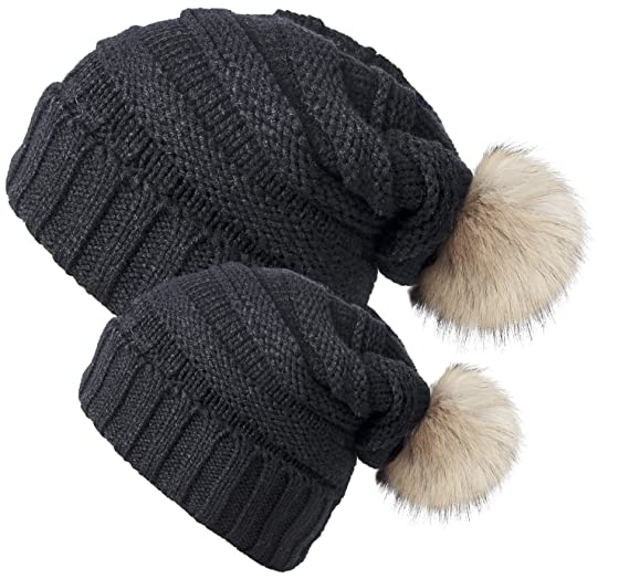 3a899b167cb681 Chalier 2 Pack Winter Warm Knit Baggy Slouchy Pom Pom Beanie Hat for Mom &  Baby, 2 Pack (Black), L & S at Amazon Women's Clothing store: