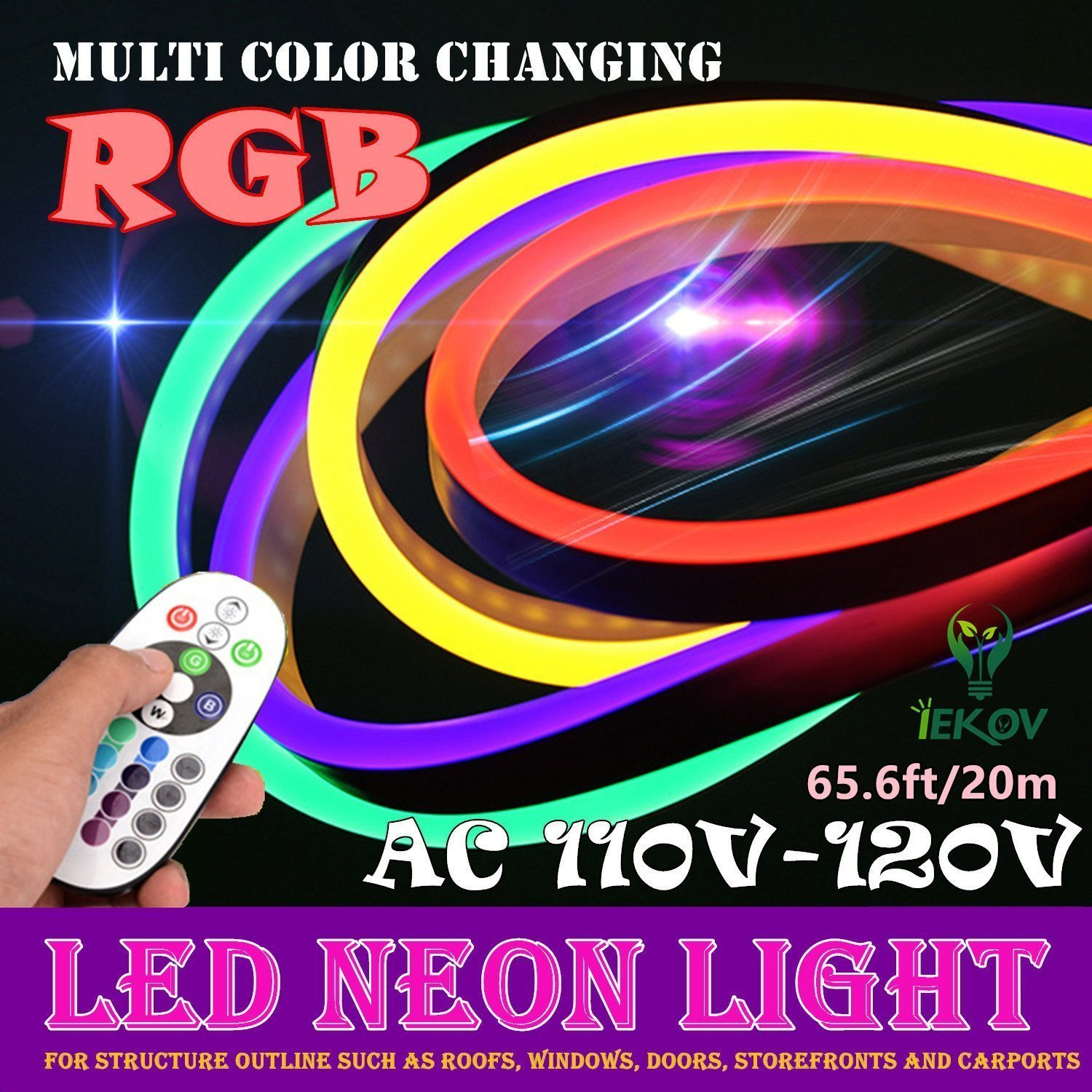 LED NEON LIGHT, IEKOV AC 110-120V Flexible RGB LED Neon Light Strip, 60 LEDs/M, Waterproof, Multi Color Changing 5050 SMD LED Rope Light + Remote Controller for Party Decoration (65.6ft/ 20m) by IEKOV (Image #2)
