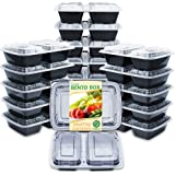 Enther Meal Prep Containers [20 Pack] 2 Compartment with Lids, Food Storage Bento Box | BPA Free | Stackable | Reusable Lunch