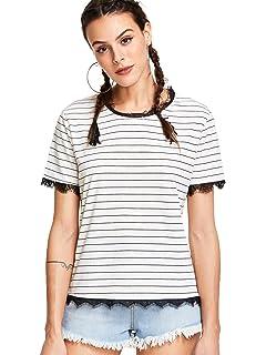 d5eb395d928 WDIRA Women s Summer Causal Short Sleeve Top Round Neck Stripe T Shirt  Blouse