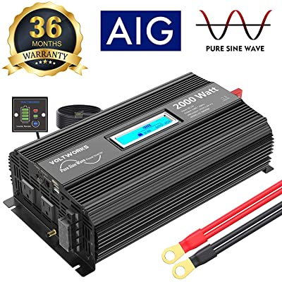 Pure Sine Wave Power Inverter 2000Watt car Converter DC 12V to 120V AC with 2 AC Outlets 2x2.4A USB Ports Remote Control and LCD Display by VOLTWORKS: Car Electronics