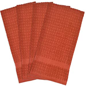 """DII Cotton Waffle Terry Dish Towels, 15 x 26"""" Set of 4, Ultra Absorbent, Heavy Duty, Drying & Cleaning Kitchen Towels-Spice"""
