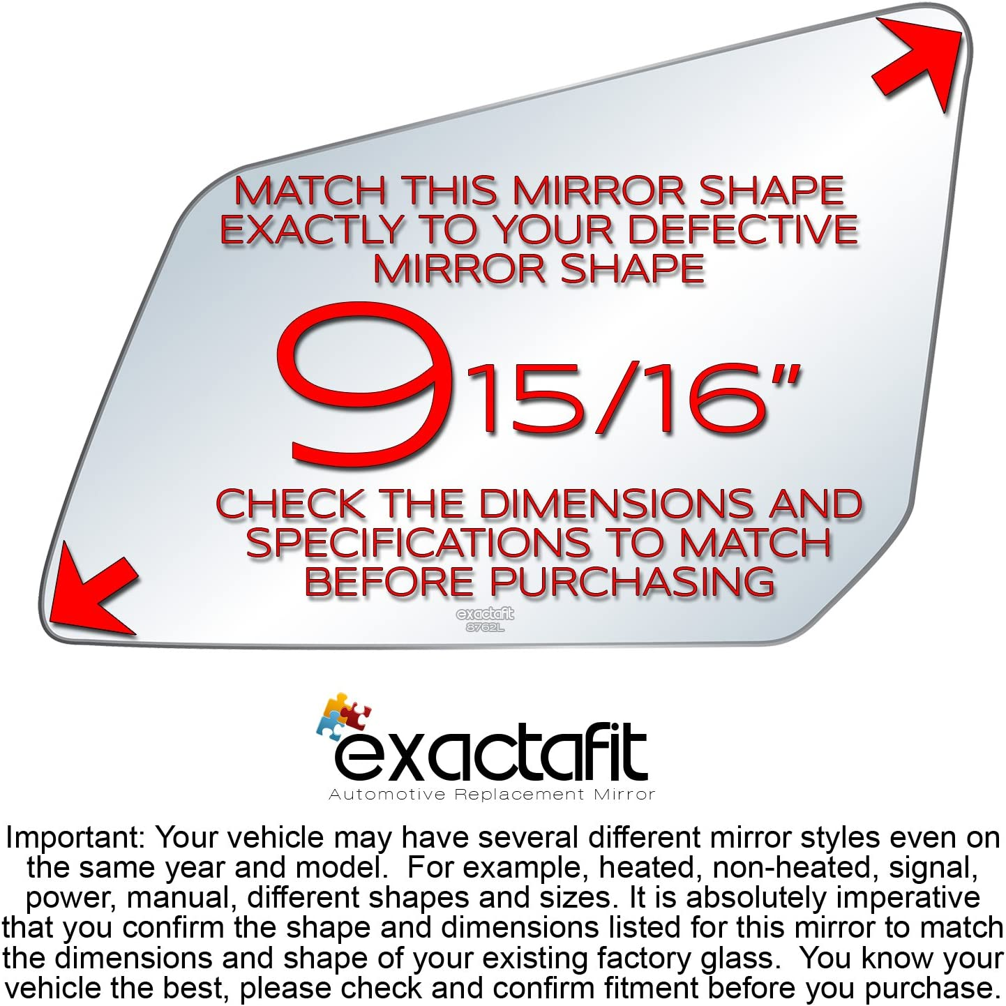 exactafit Driver Side Rear View Mirror Glass Compatible With ...