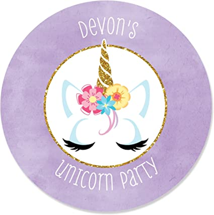 24 x UNICORN Personalised Stickers Labels Birthday Baby Shower So Cute!